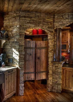 Rustic pantry door - swinging doors with antique hardware. Love the interior stone and wood ceiling. Land's End Development Rustic Kitchen Design, Rustic Design, Rustic Decor, Kitchen Modern, Rustic Chic, Kitchen Designs, Modern Rustic, Cabin Kitchens, Rustic Kitchens