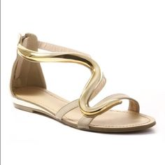 Beige Sandals with Gold Accent These sandals have a simple yet elegant design. The gold accent gives a versatile style that can do day or night.  Comes with box.                      Make an offer.  Cape Robbin Shoes Sandals