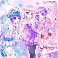 ✮ ANIME ART ✮ pastel. . .cute fashion. . .dresses. . .ruffles. . .sheer. . .flowers. . .umbrella. . .bunny ears. . .rabbit ears. . .thigh high stockings. . .girls. . .friends. . .moe. . .cute. . .kawaii