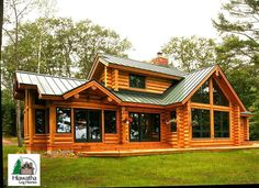 lots of light Log Cabin Plans, Cabin Kits, Log Cabin Homes, Log Cabins, Winter Cabin, Cozy Cabin, Log Home Living, Rustic Exterior, Wooden Cabins