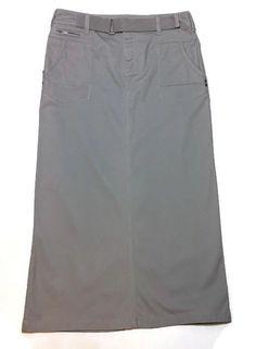 Cato Modest Long Skirt 8 Straight Tan Khaki Stretch 31W 34L Belted  | eBay