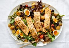 Make yourself an effortless spritz (not Aperol, perhaps?) and pair it with an easy salmon Niçoise salad, skillet greens with runny eggs or a farro salad. Ravioli, Grilled Flounder, Salmon Nicoise Salad, Chocolate Pie With Pudding, One Dish Dinners, Weeknight Dinners, Roasted Salmon, Just Cooking, Cooking Sheet