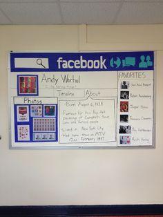 For a biography project Middle School Art, Middle School Science, Beginning Of School, Art School, Facebook Bulletin Board, Art Bulletin Boards, Classroom Displays, Music Classroom, Classroom Decor