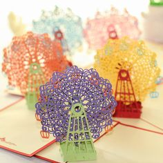 Buy Sky Wheel Handmade Pop UP Greeting & Gift Cards Creative Kirigami & Origami Card at Wish - Shopping Made Fun Origami Cards, Origami Gifts, Origami 3d, Origami Design, Origami Models, 3d Cards, Pop Up Greeting Cards, Birthday Greeting Cards, Birthday Greetings