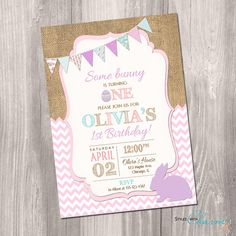 Bunny birthday invitation Easter birthday by StyleswithCharm