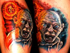 8598b4b08 A photorealistic tattoo of Gollum from the Lord of the Rings movies, based  on the