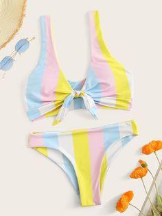 To find out about the Striped Colorblock Knot Front Bikini Set at SHEIN, part of our latest Bikini Sets ready to shop online today! Cut Out Bikini, Bikini Set, Bikini Ready, Cute Swimsuits, Striped Bikini, Stripes Fashion, Beachwear For Women, T Shirt Diy, Bikini Swimwear
