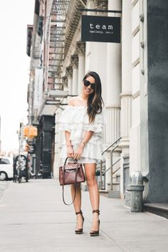 Friday :: Mini off-shoulder dress & Sculpted heels :: Outfit ::  Dress :: Forever 21 Shoes :: Lanvin Bag :: Vintage Hermes Kelly 25 cm Accessories :: Karen Walker sunglasses | David Yurman ring Published: May 19, 2017