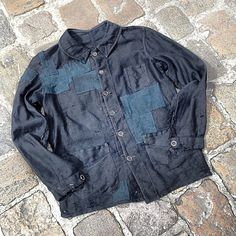 1900´s black moleskin jacket with deep indigo linen patches   #patch #patchwork #menswear #vintage #mode #style #fashion #clothing