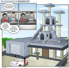 Des bandes dessinées hilarantes mettant en vedette un chat dans le rôle d'un homme d'affaires