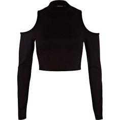 Black cold shoulder crop top - crop tops / bralets / bandeau tops - tops - women