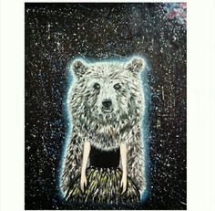 #galaxybear #bear #girl #spacegirl #spacebear #oilpainting #spacepainting