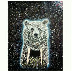 #galaxybear #bear #girl #spacegirl #spacebear #oilpainting #spacepainting