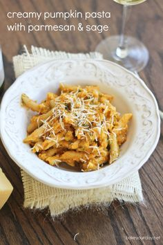 Creamy Pumpkin Pasta with Parmesan & Sage | Bake Your Day