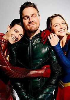 """flashallens: """"Grant Gustin, Melissa Benoist and Stephen Amell for EW. """" - Visit to grab an amazing super hero shirt now on sale!"""