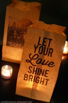 Photo Paper BagLuminaries. I would use battery tea lights and decorate a table with these and other accessories!
