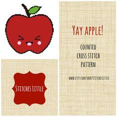 Modern Kawaii Cross Stitch Pattern - Yay Apple - PDF Instant Download on Etsy, $2.75
