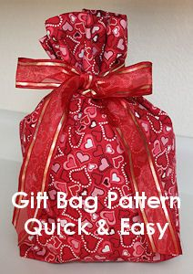 Gift Bag Sewing Pattern - quick and easy. CraftAndFabricLinks.com