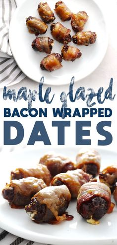 Wrapped Maple Glazed Dates taste as perfect as they sound with their maple sweet and salty bacon outside paired with the savory goat cheese filling. Take your next party or gathering to the next level with this simple and yummy appetizer Bacon Appetizers, Appetizers For Party, Appetizer Recipes, Simple Appetizers, Appetizer Ideas, Bacon Dates, Bacon Wrapped Dates, Gluten Free Puff Pastry, Cooking Recipes