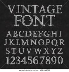 #Vintage patterned #letters and #numbers. #Font in floral baroque style. Vintage latin #alphabet with numbers. Vintage white capital letters and numbers on a black textured background.