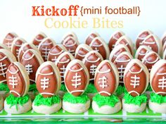 Mini Football Cookies Ready to Kick Off of Mini Grass Cookies · Edible Crafts | CraftGossip.com