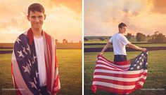 Guy senior portraits taken in Cuba City by Candid Touch Photography and Design. Patriotic Senior Portrait Session.