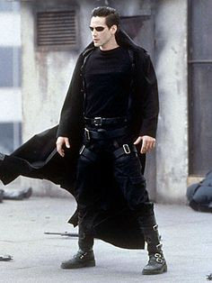 Keanu Reeves as Neo - The Matrix (1999); Al at the rave, sans shades, and with black leather pants