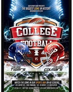 College Football Flyer   Party Flyer Templates For Clubs Business U0026  Marketing