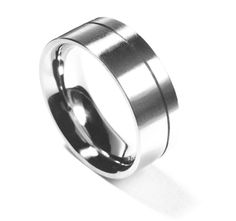 Stainless steel or platinum comfort fit wedding band. Simple, yet elegant