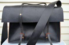 HANDMADE LEATHER BAG For Jason by Little Lion Man - Suit Case Luggage Briefcase Black Silver  Laptop Hand Stitched. $400.00, via Etsy.