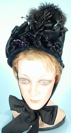 1888 black velvet bonnet Antique Dress.com
