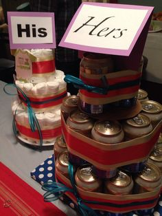 "Diaper Cake & Beer Cake for a couples shower. The baby shower started with the ""hers"" on the diaper cake and the ""his"" on the beer:):)"