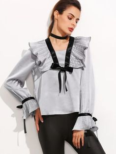 Grey Pleated Ruffle Collar Blouse With Bow Detail