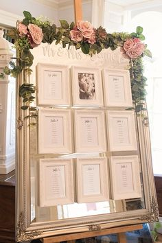 Table Plan Mirror Seating Chart Gold Frames Mirror Roses Easel Modern Calligraphy Mr & Mrs Classic Romantic Pretty Wedding https://kerryannduffy.com/