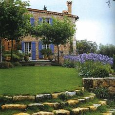 Country house and garden. Beautiful blues.