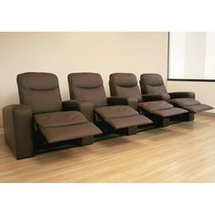 Angus Leather 4-Seat Theater Recliner in Brown