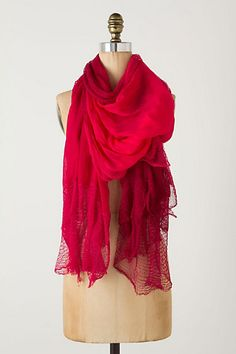 A touch of Red.  Crochet-Tipped Scarf- from Anthropologie.
