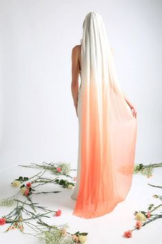 """sosuperawesome: """" Dip Dyed Ombre Silk Veils The Wayfarer Bride on Etsy See our or tags """" Pink Wedding Decorations, Wedding Colors, Ombre Wedding Dress, Wedding Dresses, Floor Length Veil, Wedding Veils, Bridal Veils, Wedding Hair, Bridal Hair"""
