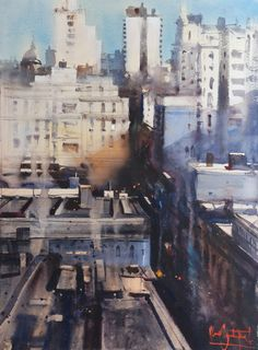 Alvaro Castagnet's Gallery Watercolor Artists, Watercolor Landscape, Watercolour Painting, Watercolours, Christophe Jacrot, 7 Arts, The Beautiful South, Montevideo, Urban Landscape