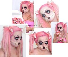 Halloween makeup. Scary pink baby doll #babydoll #creepymakeup #deadbabydoll #halloweenmakeup