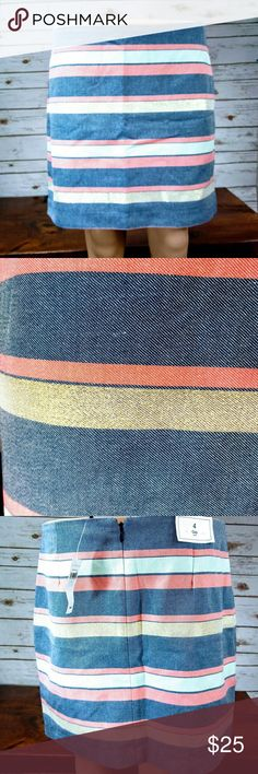 "🎇Gap Gold Striped Skirt Size 4 NWT NWT Gap Skirt with gold shimmery stripes. Falls above knee with zip closure colors are blue, Lt. green, cream orange, with 2 Gold shimmery stripes. Size 4-length 16"", waist 32"". 63% Cotton, 35% Polyester, 1% Metallic Fibre stripe. PM-10 GAP Skirts"