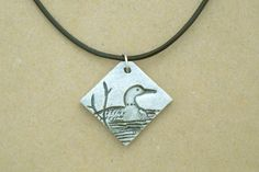Loon Necklace Kiln-Fired Michigan Earthenware Clay