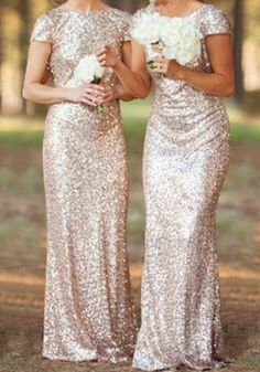 Champagne Plain Sequin V-Back Neck Short Sleeve Maxi Dress