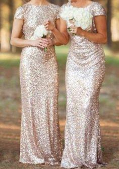 Rose Gold Plain Sequin Bridesmaid V-Back Neck Short Sleeve Maxi Dress