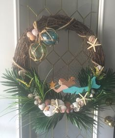 Nautical mermaid wreath by AnnabellasStudio on Etsy