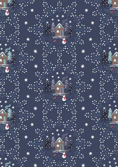 A Countryside Winter, Houses, Cottages, Snowmen and Snowflakes on Dark Blue, Fabric by Lewis & Irene Christmas Sewing, Christmas Fabric, Blue Christmas, Beautiful Christmas, Winter Christmas, Christmas Crafts, Map Fabric, Blue Fabric, Cotton Fabric