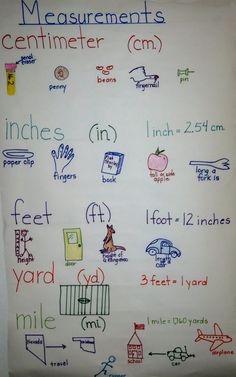 Measurement anchor chart by Irene Norma McDonald Teaching Measurement, Teaching Math, Measurement Activities, First Grade Measurement, Kindergarten Math, Math Charts, Math Anchor Charts, Second Grade Math, 4th Grade Math