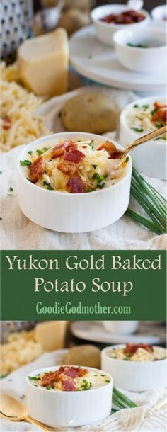 A classic comforting soup recipe, this Yukon Gold baked potato soup is a family . - Hearty Soups, Stews, Chili, Beans and Curries - Crock Pot Recipes, Potato Recipes Crockpot, Whole30 Soup Recipes, Healthy Soup Recipes, Chili Recipes, Curries, Gold Potato Recipes, Loaded Baked Potato Soup, Potato Rice