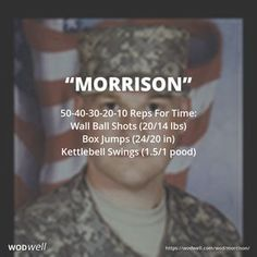 """""""MORRISON"""" CROSSFIT HERO WOD: 50-40-30-20-10 Reps For Time: Wall Ball Shots (20/14 lbs); Box Jumps (24/20 in); Kettlebell Swings (1.5/1 pood)"""