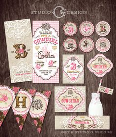 COWGIRL INVITATION Birthday Party PACKAGE Burlap by studioGdesigns
